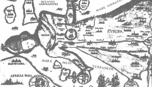 Riproduzione d'antica mappa dell'Europa